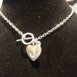 Necklace heart shaped rhinestone